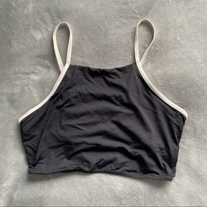 Simons black and white halter swim top